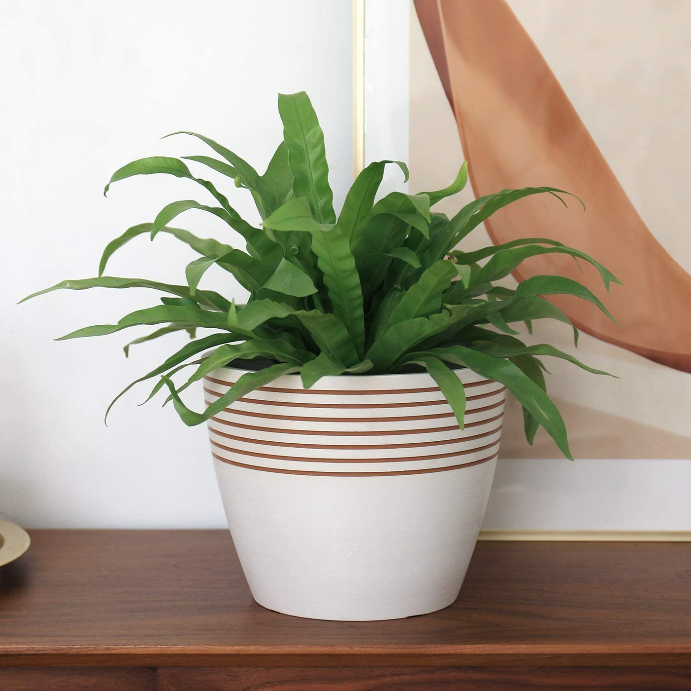 Bianco /& Grigio ardesia fioriera elegante in stile moderno con motivo a strisce 24cm Vaso per piante da interno ed esterno LA JOLIE MUSE Vaso per fiori e piante da interno