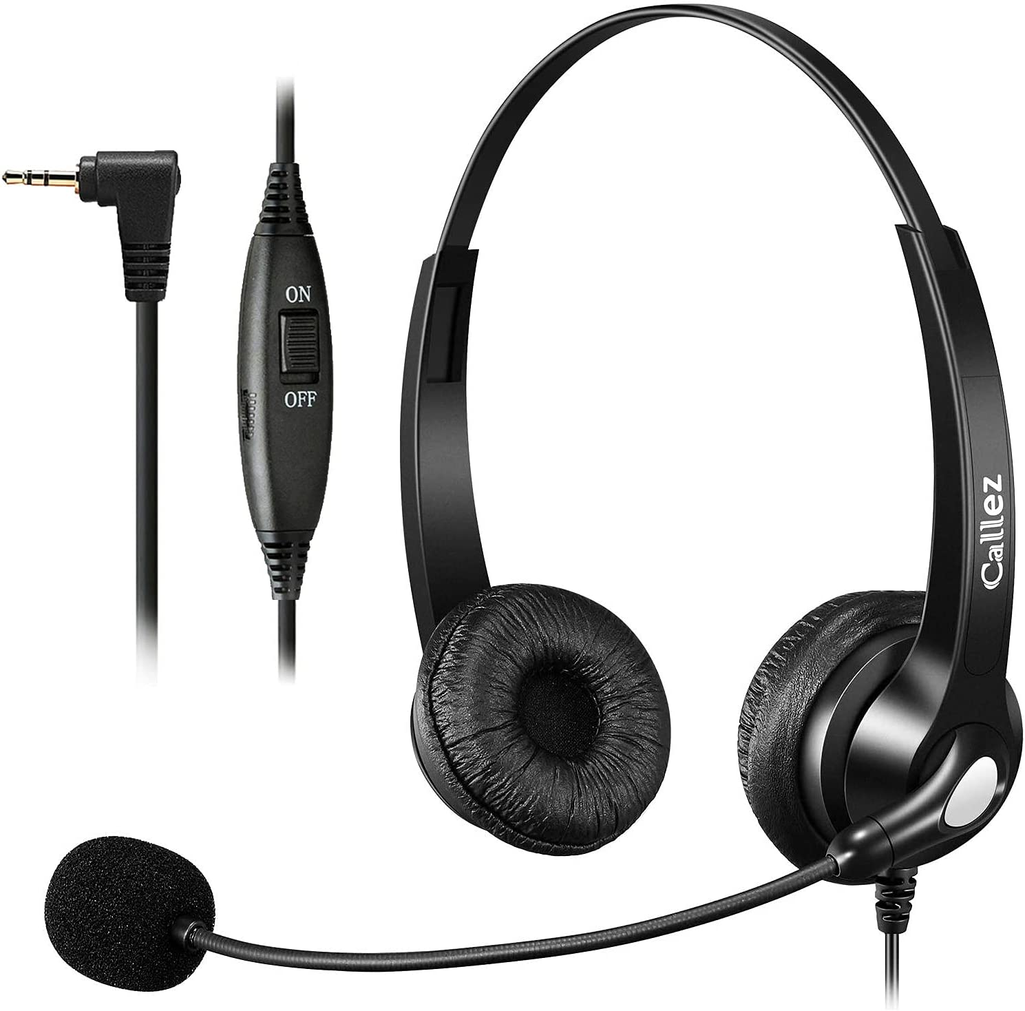 Callez Telephone Headset with Microphone Noise Cancelling, Phone Headset for Office Landline Phone with 2.5mm Headset Jack Compatible with Panasonic AT&T ML17929 Vtech RCA Uniden Cisco Cordless Phone
