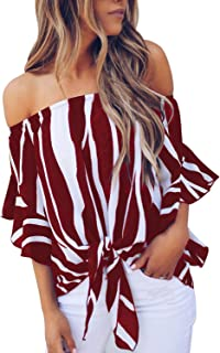 Women's Off The Shoulder Knot Front Top 3/4 Sleeve Boluse Pullover Shirts