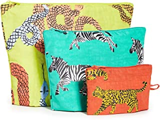 BAGGU Go Pouch Set, Expandable Nylon Zip Pouch 3 Pack for Travel and Organization, Fancy Animal