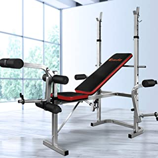 Everfit Weight Bench Home Multi Gym Station Adjustable Bench Military Press Workouts Chest Flys Incline Curl Extensions 18...