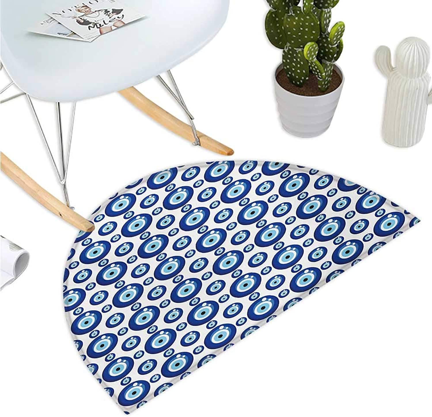Evil Eye Semicircle Doormat Symmetrical Pattern All Seeing Eye Figures Superstitious Turkish Ethnic Entry Door Mat H 47.2  xD 70.8  bluee Pale bluee White