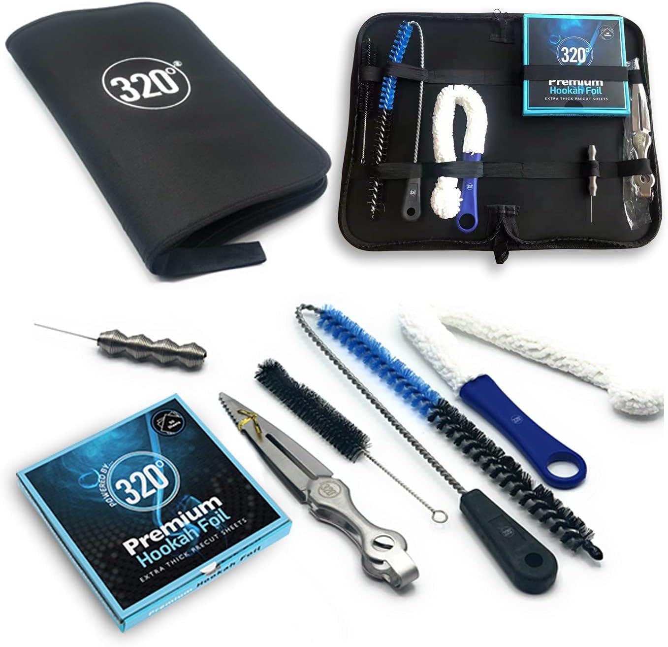 320º Hookah Shisha Essentials - Juego de viaje para cachimba (incluye cepillos de limpieza, pinzas, atizador, tenedor, cartas de juego y accesorios)