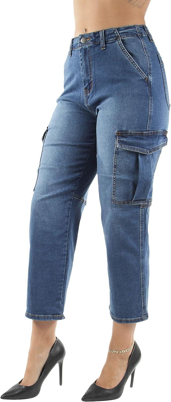 Women's Juniors/Plus Size High Waist Cargo Denim Joggers Pants (2915)