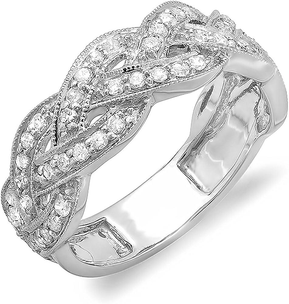 Dazzlingrock Collection 0.58 Carat (ctw) 14k Round Diamond Ladies Anniversary Wedding Stackable Swirl Ring 1/2 CT, White Gold