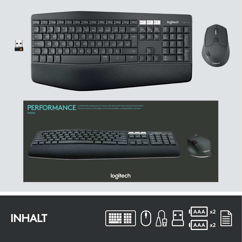 Logitech MK850 Performance Tastiera e mouse wireless Combo USB, Bluetooth nero Nero
