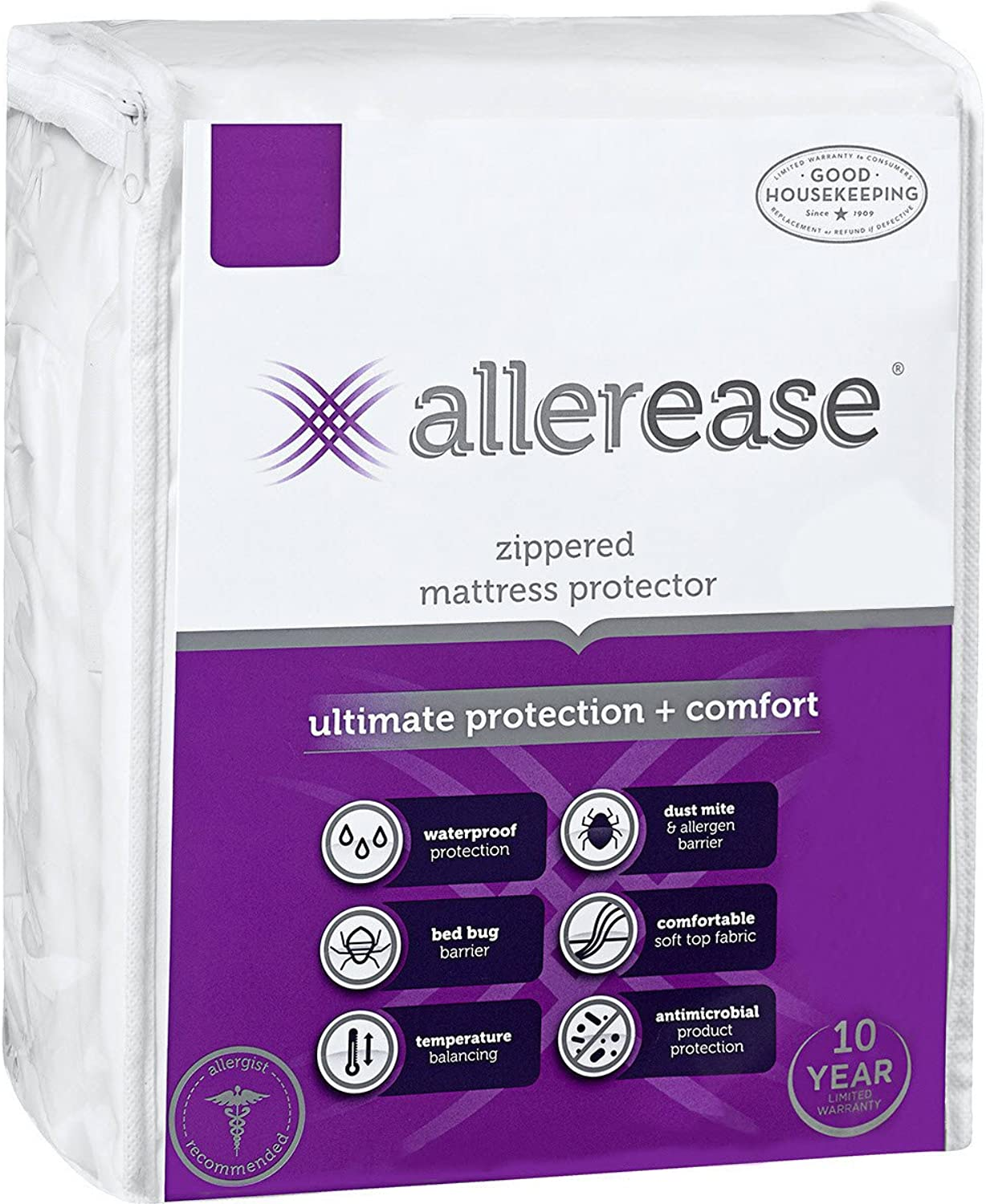 AllerEase Ultimate Predection and Comfort Waterproof, Bed Bug, Antimicrobial Zippered Mattress Predector - Prevent Collection of Dust Mites and Other Allergens, Vinyl Free, Hypoallergenic, Twin Sized