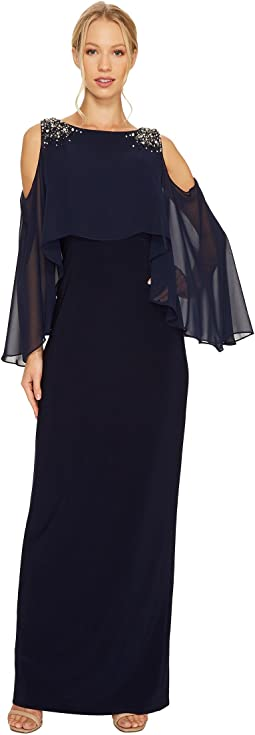 Vince Camuto - Cold Shoulder Navy Cape Gown