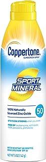 Coppertone Sport Mineral SPF 50 Sunscreen Spray Zinc Oxide Sunscreen Water Resistant, 5 Ounce