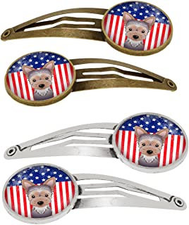 Caroline's Treasures BB2162HCS4 American Flag and Yorkie Puppy Set of 4 Barrettes Hair Clips, OS, multicolor