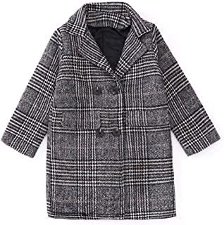 Xifamniy Infant Children Girls Autumn&Winter Woolen Coat Fashion Lapel Plaid Plus Velvet Jacket