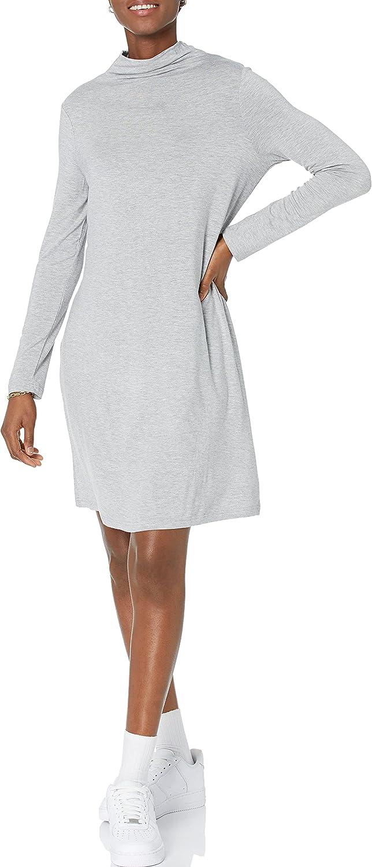 Daily Ritual Women's Jersey Mock-Neck Swing Dress