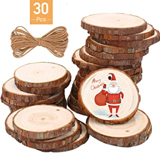 Monkey Home Natural Wood Slices 30 Pcs 2.4-2.8 Inches Craft Wood Kit with Holes Unfinished Predrilled with Jute Twine for Arts Christmas Wedding Ornaments DIY Crafts