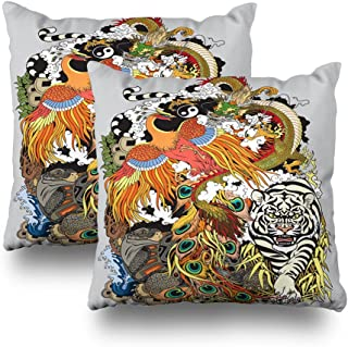 Kutita Decorativepillows Covers 18 x 18 inch Throw Pillow Covers,Four Celestial Animals Feng Shui Drag Phoenix Turtle and Tiger Pattern Double-Sided Decorative Home Decor Pillowcase