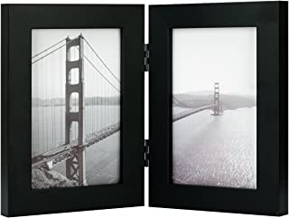 Frametory, 4x6 Inch Hinged Picture Frame with Glass Front - Made to Display Two 4x6 Inch Pictures, Stands Vertically on Desktop or Table Top (4x6 Double, Black)