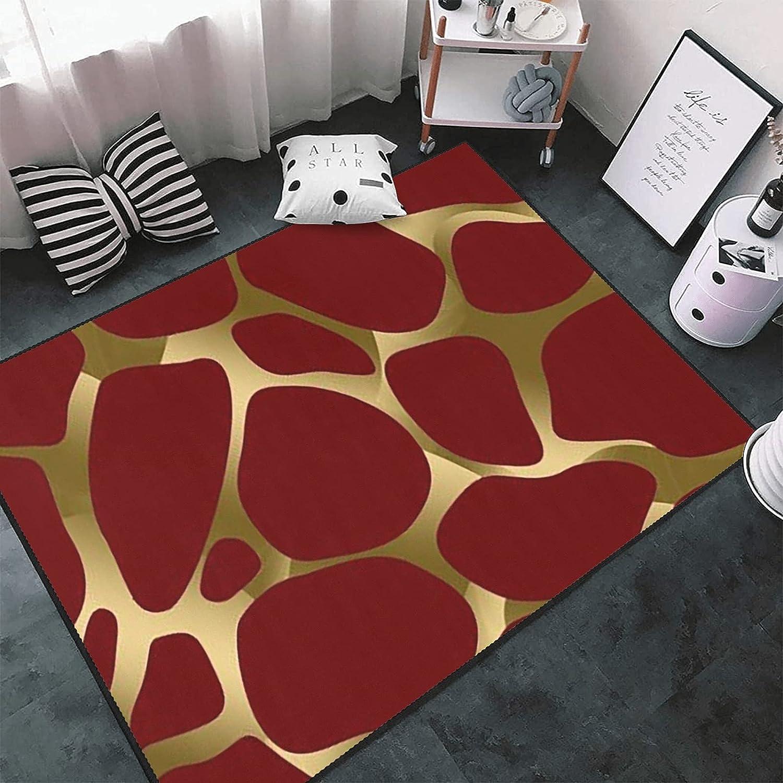 Gold Red depot Leopard Print Max 66% OFF Area Rug Carpet Play Floor Custom Doormat
