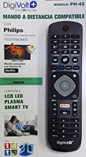 DiggitalWorld Mando Universal para televisores Philips- NO Necesita INSTALACIÓN códigos Philips preinstalados, Compatible con función de Netflix: Amazon.es: Electrónica