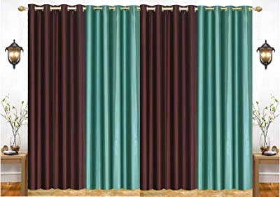 "India Furnish Eyelet Fancy Polyester Aqua & Brown Colour Long Door Length Curtain - Pack of 4 Pcs (108""X48"")"