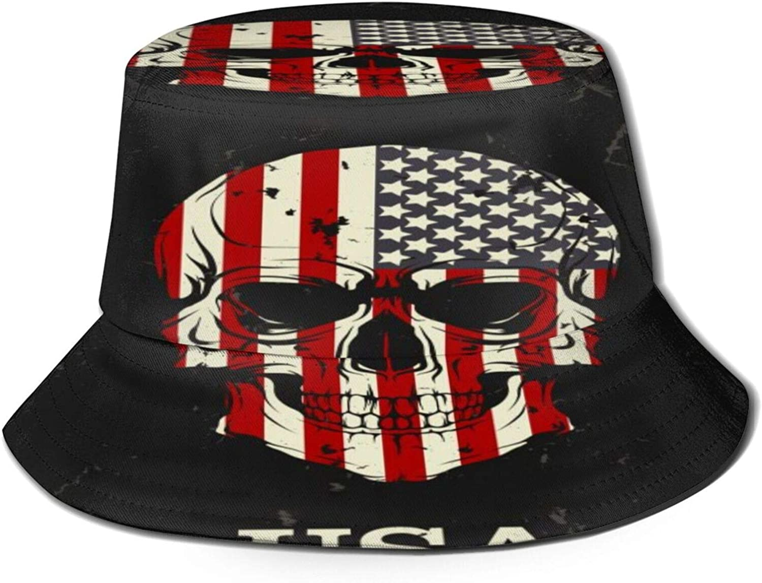 Skull Color of The US Genuine Free Shipping Flag Sales Bucket Sun Pack Hat Summer Unisex