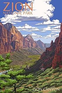 Zion National Park, Utah - Zion Canyon View (9x12 Art Print, Wall Decor Travel Poster)