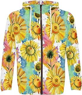 Men's Wildflower Yellow Chamomile Flower Watercolor Pocket Pullover Full Zip Hoodie