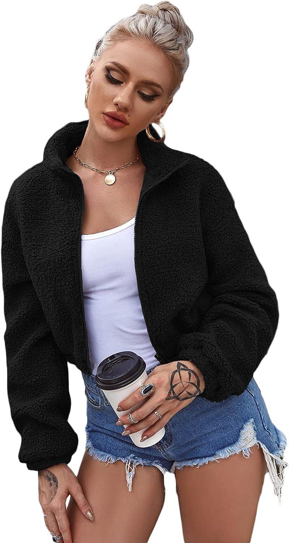 Verdusa Women's Zip Up Long Sleeve Shearling Crop Teddy Jacket Outerwear