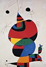 Joan Miró - Woman, Bird and Star, Canvas Art Print, Size 16x24, Non-Canvas Poster Print
