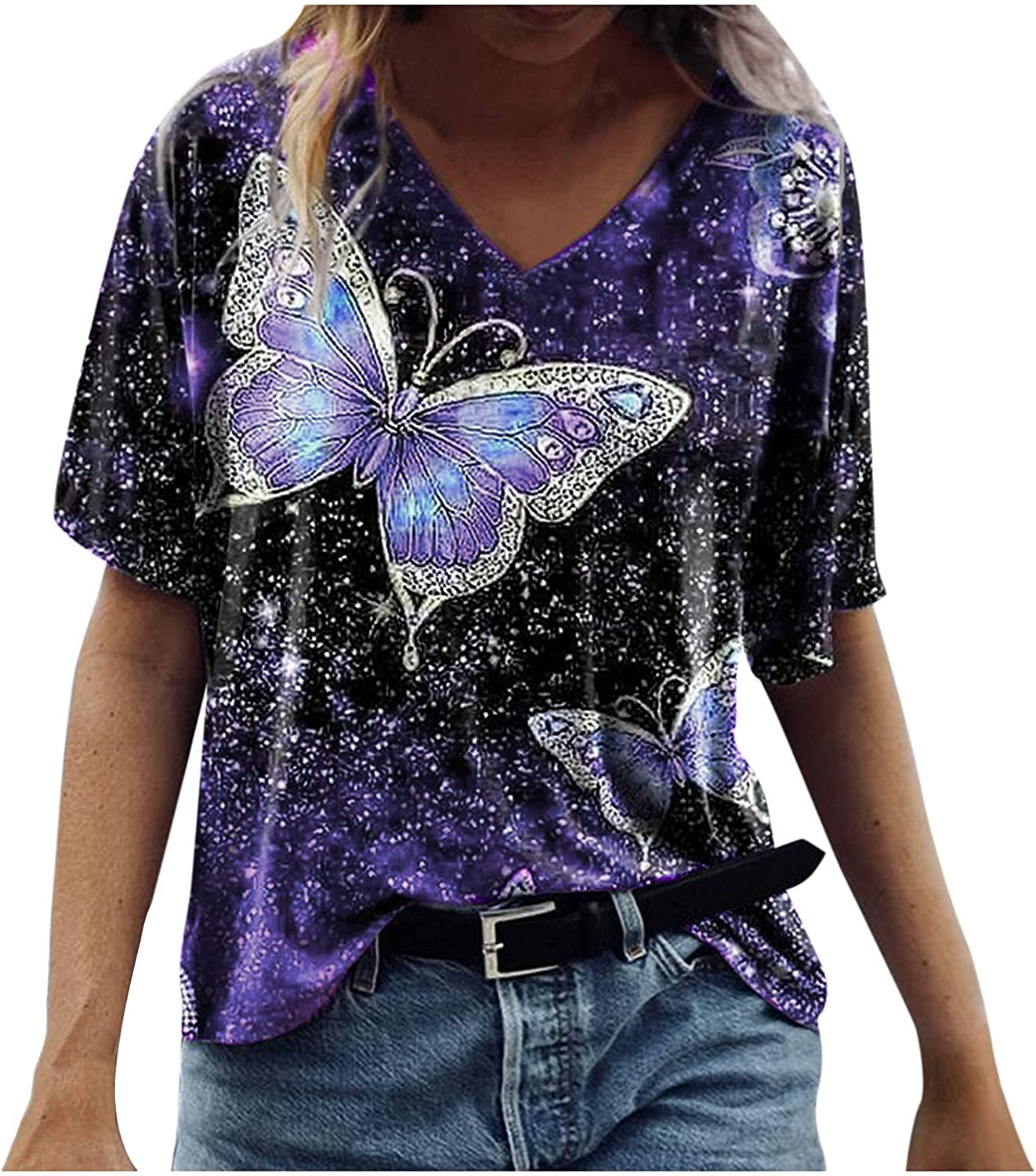 Forwelly Womens Loose Casual Summer Short Sleeve T Shirt V Neck Vintage Butterfly Print Blouse Tunit Tops