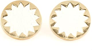 White Leather Sunburst Stud Earrings Vintage Gold Tone EH64 Star Posts Fashion Jewelry
