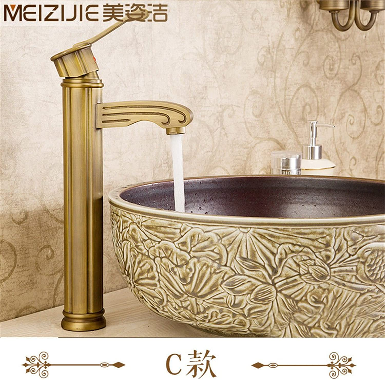 Lpophy Bathroom Sink Mixer Taps Faucet Bath Waterfall Cold and Hot Water Tap for Washroom Bathroom and Kitchen Copper Retro Hot and Cold Antique