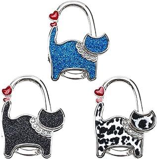 Rameng Crochets pour Sac /à Main Accroche Sac Porte-Sac /à Main de Table Pliable Hanger Hook Motif de Strass Bleu