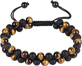 Genuine Stone Beads Bracelet - Natural Stone Prayer Mala Beads Black Obsidian Beaded Bracelet Adjustable
