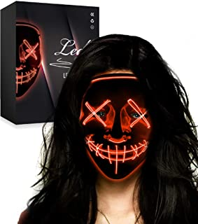 Halloween Mask LED Light up Mask Cosplay Costume Party for Men Women Kids