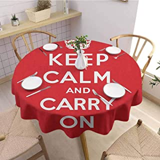 Custom Tablecloth,Keep CalmRed and White Composition with Keep Calm and Carry On Text and a Royal UK Crown,Outdoor Round Tablecloth Red White Diameter 63