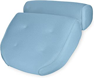 Navaris Almohada para bañera - Cojín de bañera con ventosas - Almohada de Malla para Cabeza Cuello - Oeko-Tex Standard 100 - Antideslizante en Azul