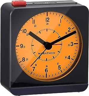 Marathon CL030053MB tyst icke-tickande väckarklocka med varm bärnsten auto bakljus och upprepande snooze. Färg-midnattsblå