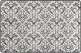 Damask Abstract Victorian Floral Pattern Royal Flowers Black White Super Soft Non-Slip Area Rugs Living Room Carpet Bedroom Rug 36X24 Inch