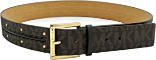 Michael Kors Womens MK Monogram Goldtone Buckle & Mini Studs Belt - Brown (Large)