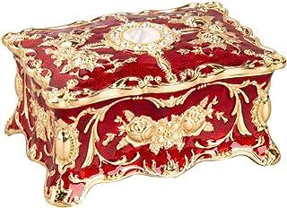 Feyarl Vintage Rectangle Red Tiny Trinket Box Jewelry Box Ornate Antique Finish Engraved Organizer Box (Small) 3.5 x 2.3 x...