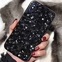 Huawei Honor7X/Mate SE Full Big Diamonds Case, Shiny Manual Diamands Crystal Bling Clear Cover, TAITOU Fashion Queen Noble Thin Phone Case for Huawei Honor 7X Black