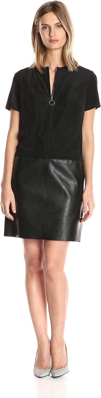 Julia Jordan Womens Short Sleeve Zip Front Faux Leather Suede Shift Dress Dress