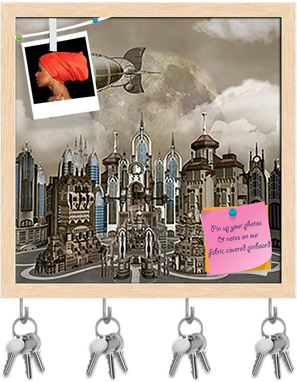 Artzfolio Cityscape D2 Key Holder Hooks   Notice Pin Board   Natural Brown Frame 20 X 20Inch