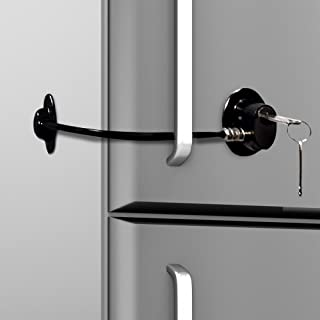 Loot Lock Refrigerator Door Lock with 2 Keys for Fridge Lock Security for Child Safety, Clear Cabinet Lock, Dorm Fridge Lock, Compact Freezer Lock (Black)
