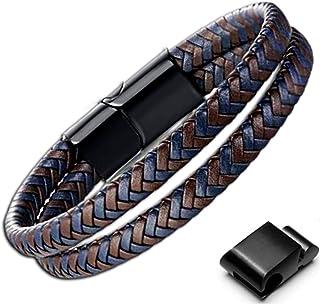 Genac Bracelet Double Pour Homme En Cuir Véritable Tressé De Haute Qualité Marron Et Bleu Avec Fermoir Magnétique Amovible...