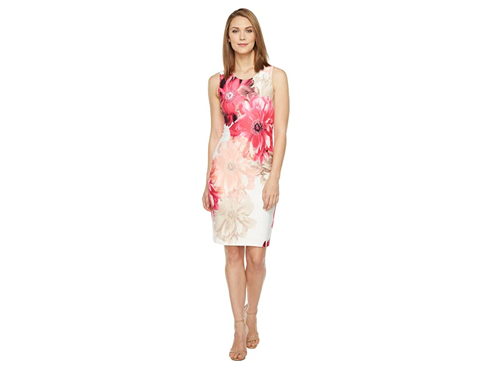 Calvin Klein Printed Sheath Dress (Rose Multi) Women