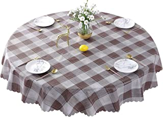 Round Oilcloth Tablecloth Waterproof PVC Plastic Wipeable Spillproof No-iron Peva Heavy Duty Farmhouse Tablecloth for Coffee Table Tan+Grey Plaid 70 Inch