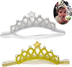 عصابات رأس تاج الأميرة بيبي برينسيس مع كريستال ونجمة للأطفال من عمر 1 إلى 4 سنوات، ذهبي وفضي
