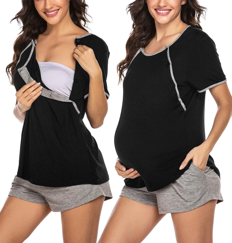 Ekouaer Maternity Nursing Pajamas Sets Breastfeed Sleepwear Button Up,Adjustable