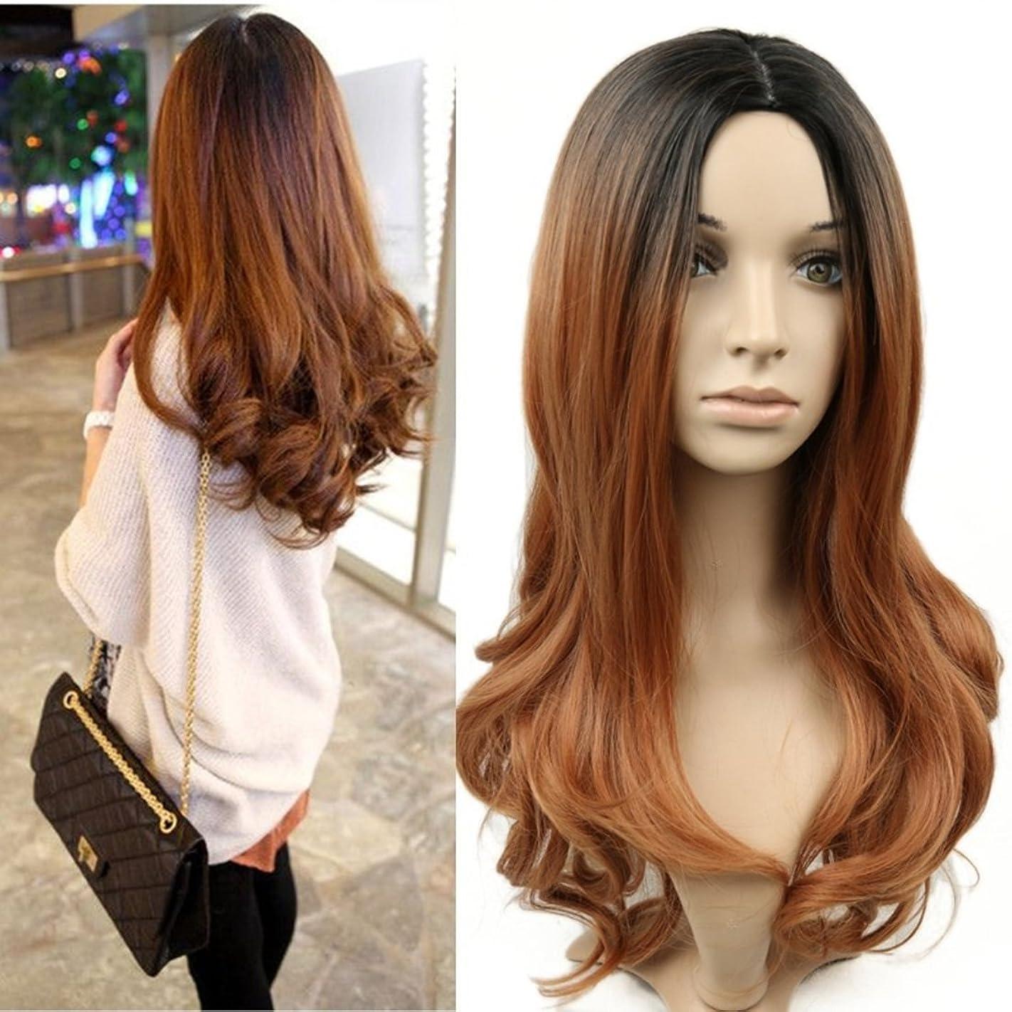 敬な心臓不屈JIANFU 女性 化学繊維 かつら 耐熱 自然な 巻き髪 グラデーション かつら (Color : Black gold gradient)