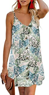 CILKOO Women's Floral Print Button Down Strappy Sleeveless Casual Flowy Mini Dress - - Medium